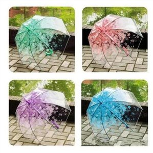 Regenschirme Sakura Transparent Regenschirm Halbautomatische Kinder Regenschirme Netter Regenschirm Stiel Regen Regenschirme Strand-Hochzeit Regenschirm C608