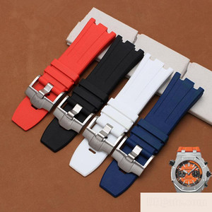 Black Blue Silicone Rubber bracelet wristband sport watch band 28mm watchband for ap watches strap wristwatches belt
