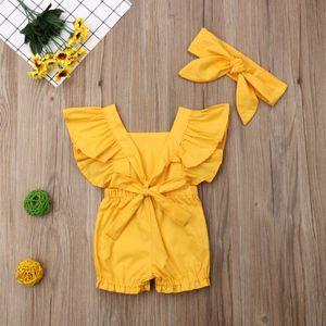 0-3Y Infant Baby Girl Boys Summer Pretty Romper Headband 2pcs Ruffles Short Sleeve Yellow Flowers Print Jumpsuits