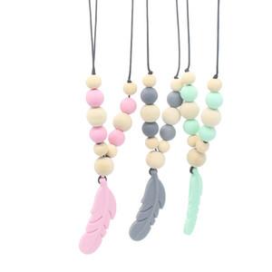 Baby dentizione giocattolo in silicone + allenamento in legno Baby Teethers collana pendente collana piuma da masticare giocattolo regali perline ciuccio C5826