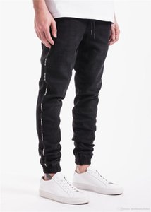 Spring Sports Mens Designer Jeans Black Zipper Designer Stylish Cool Pencil Pants Long Skinny Striped Trousers
