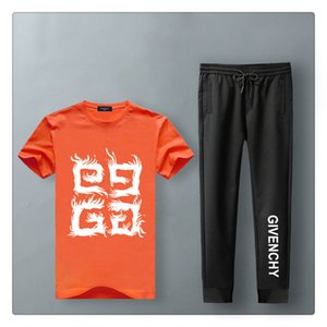 men s summer designer shorts sets Slim Cool Short Sleeves T-shirt With Joggers Pants Casual Suit mens designer summer long pants