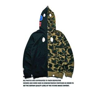 Hoodies Homens de Moda com capuz Cardigan de mangas compridas Brasão Sweater tubarão Boca Impresso Maré Marca costura de Homens para Homens S-2XL