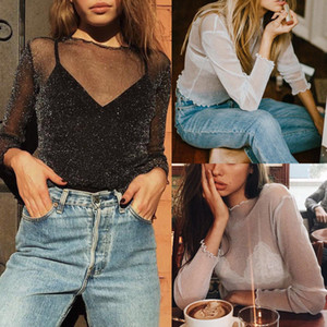Mesdames Mesh Sexy Party perspective bling bling Clubwear T-shirt à manches longues Tops Casual Fashion T-shirt pour femmes