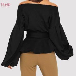 Women Fashion Long Sleeve Strapless V Neck Lantern Sleeve Bow Belt Bandage Tops Off Shoulder Long Sleeve