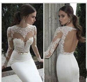 2018 New Arrival Sexy Sheath Wedding Dresses Illusion Long Sleeves Open Back with Sash Vestidos De Noiva