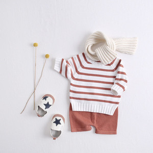 ANG INS Newest Kids Boys Girls Sweaters Clothng Sets Rfulles Round Collar Oblique Buttons Stripes Cardigans Straps Shorts 2pieces Suits