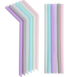 Силиконовая соломинка Многоцветного Многоразовая силиконовые соломы Сложенных Бент Straight солома Главного Бар Аксессуар силиконовых трубки DHB225