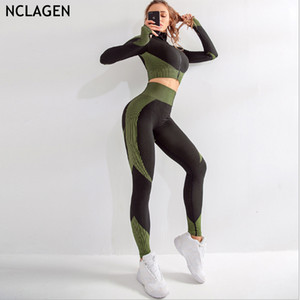 Marka Spor Suit Kadın Dikişsiz Running Eşofman Spor Salonu Crop Top Yoga Pantolon Spor Giyim Egzersiz Tozluklar 2 Adet Set T200115