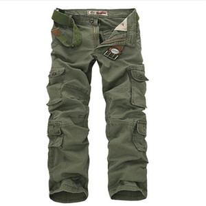 Mens Cargo Pants Multi-pockets Baggy Men Cotton Pants Casual Overalls Army Oustdoor Tactical Trousers no belts 46