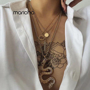 Bijoux Gold Color Embossed Zodiac Sign Dragon Multilayer Pendant Necklace Metal Lotus Cross Collar Chain Sweater Chain Party Wom
