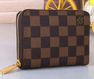 Luxe Zippy Wallet Brown court Zipper Femmes Wallet Mono gramme Canvers cuir Check Plaid Wallet No Box