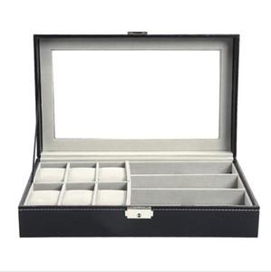 Multi-fonctionnel affichage Montre boîte de rangement Lunettes de soleil Organisateur Montre lunettes Boîte affichage Holder Bijoux Noir