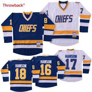 Baratos Hanson Brothers # 16 # 17 # 18 Charlestown Jefe Slap Shot White Blue Movie Hockey Jerseys Envío gratis