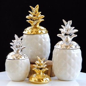 ananas en céramique de stockage boîte de réservoir Ornement en céramique Figurine Trinket Box Salon Table à manger Décor