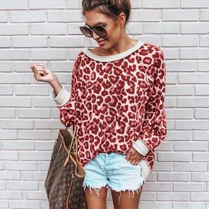 2019 New Fashion Women Sweatshirt Round Neck Print Leopard Jersey Loose Shirt 5 Colors Women Pullovers Tops