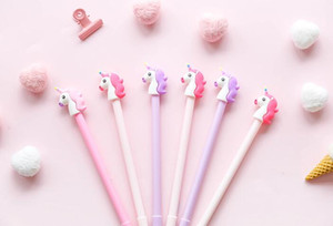 gel ink pen kit stationery cartoon cute school supply multi colors unique unicorn design 0.5mm pen point