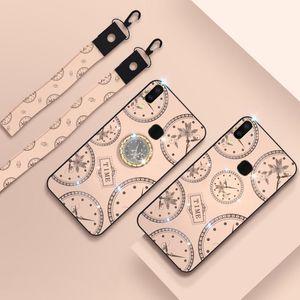 Para el patrón del reloj de moda Vivo X21i Rhinestone cáscara del teléfono móvil con el soporte de la mano cuerda cuerda