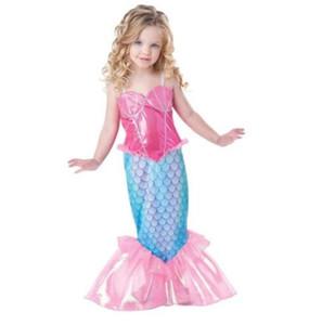 Baby Girl русалка платье дети платье принцессы косплей костюм русалки выполнить одежду детей рождественская вечеринка платье KKA6668