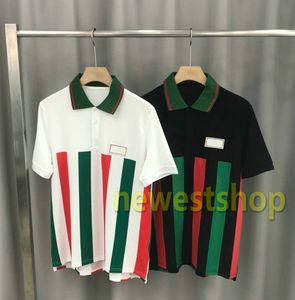2020 nueva Europa de lujo para hombre de la raya de la impresión camiseta de la moda de alta calidad de algodón POLO carta camisa de impresión de camisetas diseñador de tapas Camiseta casual
