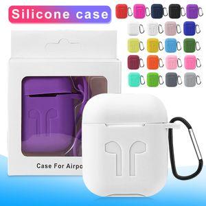 Etui en silicone pour AirPod 1/2 Oreillettes Caisses protecteur silicone souple épaisseur 3 mm pour écouteurs couverture AirPod 2 avec Retail Box