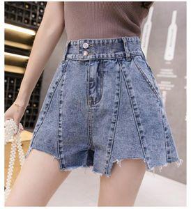 2019 Yaz yeni kot şort kadınlar geniş bacaklar yüksek bel gevşek bir kelime sıcak pantolon Kore versiyonu dışında ince dalgasını gösterir