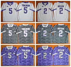 NCAA TCU Boynuzlu Kurbağalar Futbol Formalar Koleji 2 Trevone Boykin 5 LaDainian Tomlinson Renk Gri Mor Beyaz İçin Sporseverler
