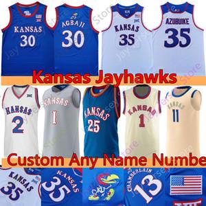 Пользовательские 2020 Канзас jayhawks баскетбол Джерси НКАА колледж Ochai Agbaji Udoka Azubuike Уиггинс Embiid Чемберлен Пирс