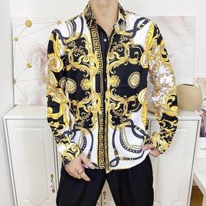 2019 New Free shipping summer fashion print longsleeve high cotton men designer casual shirt asian size s-3xl