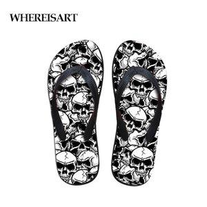 WHEREISART Tongs pour hommes Mode été Plage Caoutchouc Eau Cool Skull Punk Crâne Zombie Conception Pantoufles Male Flats Sandals Chaussures