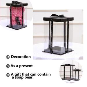 NEW 17x17x29cm صندوق شفاف هدية فارغة للالاصطناعي تيدي بير روز زهرة هدايا صندوق المرأة القطيفة الدب هدية