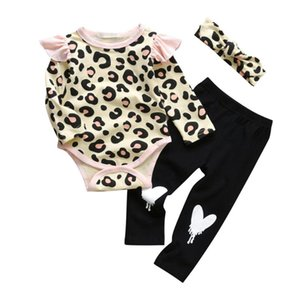 3PCS Newborn Baby Girls Clothes Set Leopard Pattern Tops Bodysuits Long Sleeve Love Pants Headband Toddler Girls Clothing Outfit