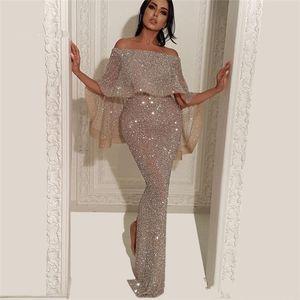2019 arabe casquette manches argentées bling paillettes sirène robes de bal sterlied longueur de plancher robes de soirée de fête formelle