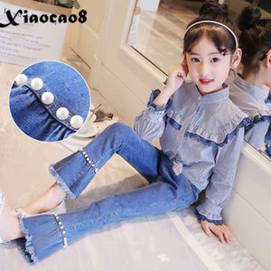4-14Years Big Girls Jeans Kids Children Pockets Pearl Jeans for Girls Toddler Girl Tassel Denim Pants Clothes4 5 6 8 10 12 14