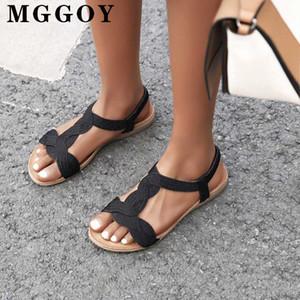 Yeni Bayan Yaz Sandalet Düz 2020 Casual Sandalet Roman Dokuma Kumaş Bilek Kayışı Bayanlar Kauçuk Flats Sandal Kadınlar Elastik Band