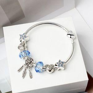 Dream catcher i monili del braccialetto del Strass Blue Star fai da te Cuore Perline di fascino del pendente 925 braccialetto d'argento delle donne delle ragazze Bracciali Accessori