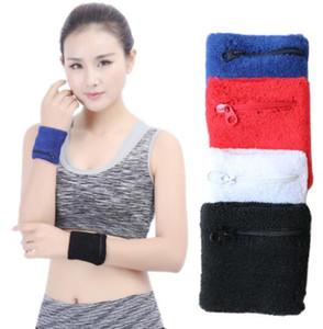 Fitness migliore di fascia alta moda asciugamano tasca con zip sport caldo di sport della protezione di braccialetti per gli uomini e le donne di sport di sicurezza supporto per il polso