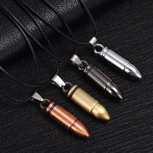 Men Titanium Steel Necklaces Bullet Pendant Leather Chain Necklace