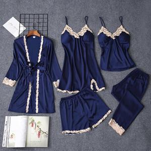 2019 Nova Mulheres Pijamas 5 Pieces Satin Pijamas Pijama de seda Home Wear Feminino sono Salão de pijama com Peito Pads Pajama Femme