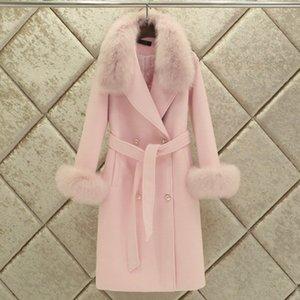 Fox Fur Collar Real Fur Coat Female Wool Jacket Autumn Winter Coat Women Clothes 2020 Korean Vintage Long Woolen Coat ZT5067