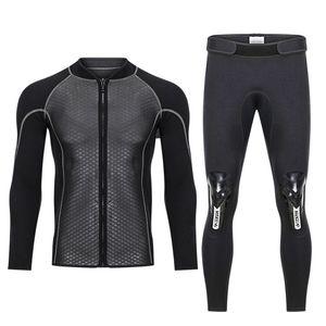 Hisea 2.5 mm neopren Mayo erkek üst wetsuit ceketler pantolon 2.5 mm neopren uzun kollu Mayo sörf