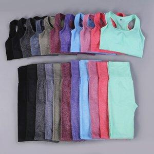 Yeni Dikişsiz Yoga setleri spor elbise Uzun kollu kırpma üst spor sutyen yüksek bel kalça kaldırma egzersiz pantolon karın kontrol Yoga pantolon