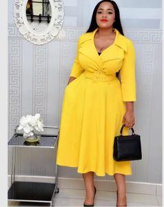 couleur unie taille haute de nouvelle taille col col tailleur robe femmes de grande taille robe D02201