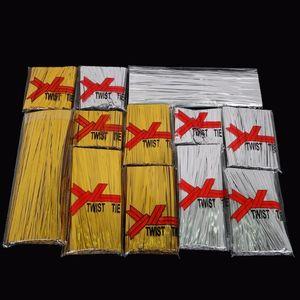 Twist Ties filo d'argento solido / 800pcs colore dell'oro / pack cavo corda per Cake Pops tenuta Violoncello Borse Lollipop Gifts Packgae imballaggio