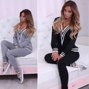Women Fashion Sweatshirt Tops+Pants Casual Tracksuit Set 2 Pcs Outfit Sports Suit
