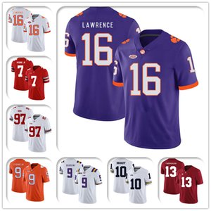 NCAA Clemson Tigers 16 Тревор Лоуренс Джерси 8-5 Трэвис Ethienne Jr Jerseys 97 Ник Боша Джерси Дуэйна Ханкинс JR SAQUON BARKLEY