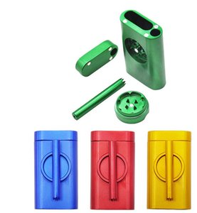 New Metal Smoking Grinder with One Hitter Bat Metal Smoking Pipes 30mm Aluminum Alloy Grinder with Cigarette Herb Storage Box