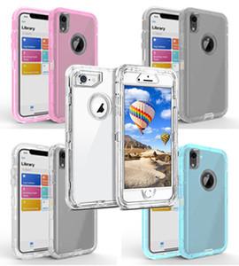 Transparente Heavy Duty 3-en-1 caso del defensor de cristal para Iphone 11 Pro X / XS Max XR TPU de parachoques clara híbrido envío libre de la