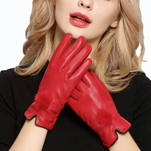 Harppihop перчатки скидка 2019 100% подлинные кожаные перчатки женщина перчатки овчины женщин тонкий термический норка волосы мяч мода T200111