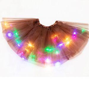 Colorido funcionamiento de la muchacha de la falda de los niños de luz LED Hasta Tutu princesa faldas luminoso del partido del vestido falda de la danza KKA7874